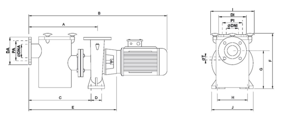 Размеры насоса CF-4