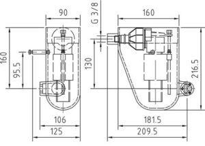 Механический контроль уровня воды размеры