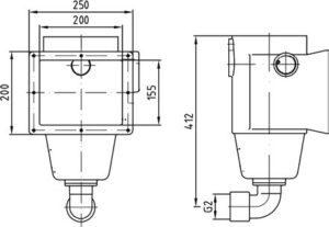 Скиммер бронза, глубина 240 мм, схема